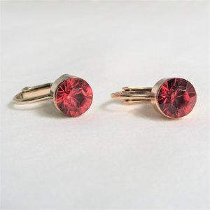 3 for $25 - Red Crystal Clip On Earrings Gold Tone